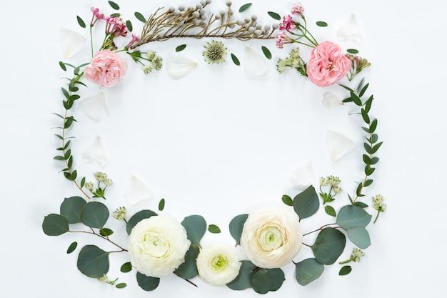 Cornice floreale con rami freschi di rose a forma di pione ed eucalipto foglie isolate su sfondo bianco, vista piana e vista dall'alto