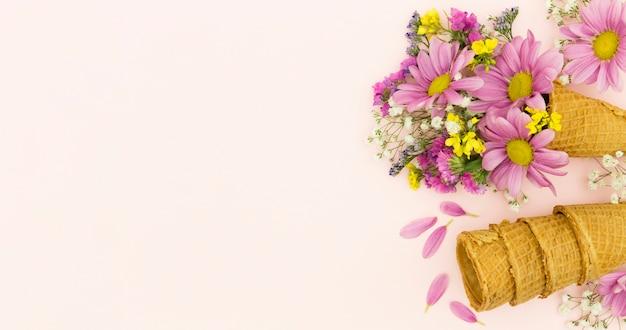 Cornice floreale vista dall'alto con coni e copia-spazio
