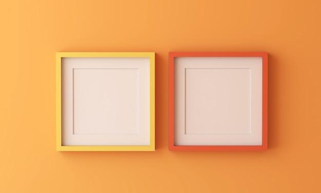 Cornice gialla e arancione per inserire testo o immagine all'interno su colore arancione.