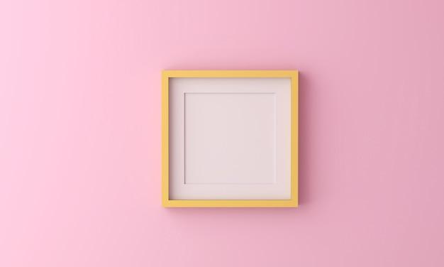 Cornice gialla per inserire testo o immagine all'interno su colore rosa pastello.