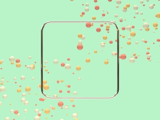 Cornice in argento metallico forma geometrica in bianco molti levitazione palla / sfera giallo bianco rosa