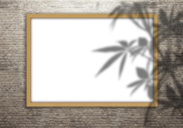 Cornice in bianco 3d su un muro di mattoni con la sovrapposizione dell'ombra delle foglie