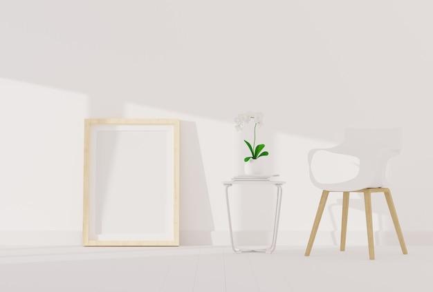 Cornice in bianco per il modello in salone moderno