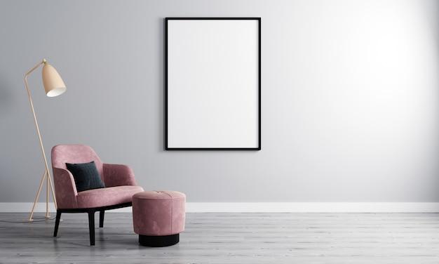 Cornice in bianco verticale nella stanza vuota con la parete e la poltrona bianche su parquet di legno. interno camera con poltrona e cornice vuota per mockup. rendering 3d
