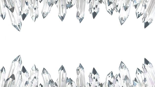 Cornice in cristallo su bianco. illustrazione 3d