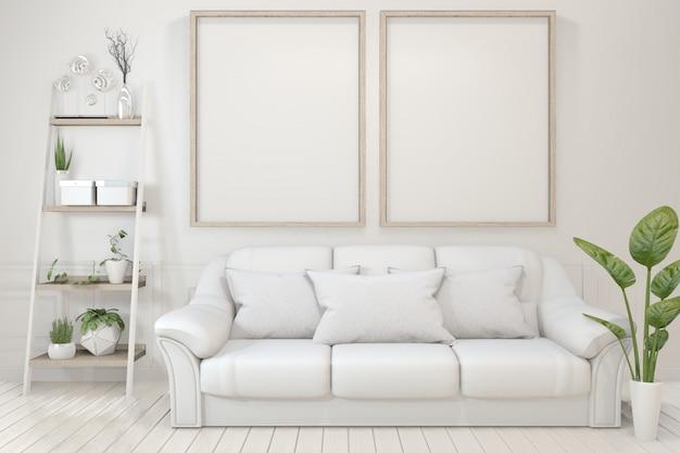 Cornice in legno vuota, divano, pianta e lampada nella stanza vuota con muro bianco.