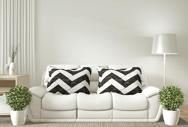 Cornice interna poster mock up soggiorno con divano bianco