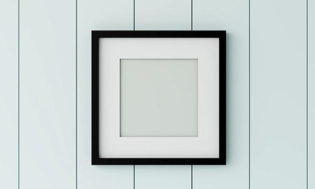 Cornice nera in bianco sulla parete di legno. rendering 3d.
