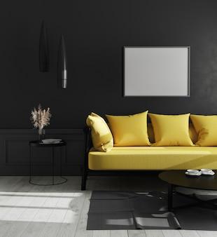 Cornice orizzontale in bianco nell'interno di lusso moderno del salone con la parete nera e il sofà giallo luminoso, stile scandinavo, illustrazione 3d