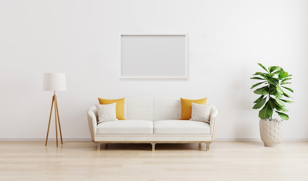 Cornice orizzontale in luminoso soggiorno moderno con divano bianco, lampada da terra e pianta verde su laminato di legno. stile scandinavo, interni accoglienti. rendering elegante di camera mockup. 3d