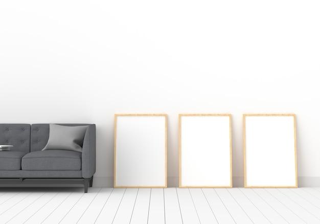 Cornice per foto vuota tre per il modello nella stanza bianca