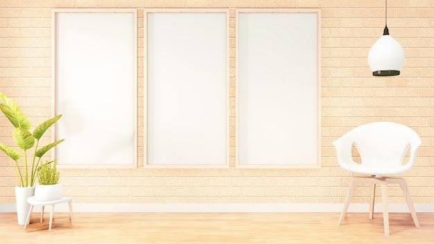 Cornice per poster, divano bianco interno in camera soppalco, design muro di mattoni arancione. rendering 3d