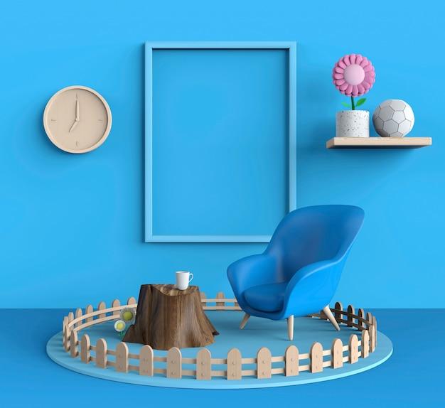 Cornice per poster e copyspace con divano moderno blu