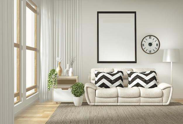 Cornice per poster interni mock up soggiorno con divano bianco