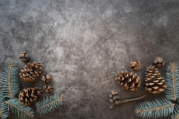 Cornice piatta con rami di abete e copia-spazio