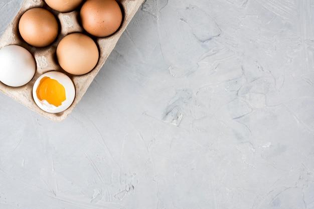Cornice piatta uova laiche con copia-spazio