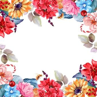 Cornice pittura ad acquerello isolata bouquet di fiori