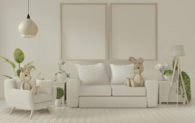 Cornice poster e divano bianco su bianco salotto interior. rendering 3d