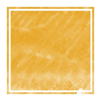 Cornice rettangolare dell'acquerello disegnato a mano arancione chiaro