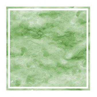 Cornice rettangolare dell'acquerello disegnato a mano verde scuro