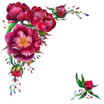 Cornice rotonda con peonie acquerellate e fiori grafici