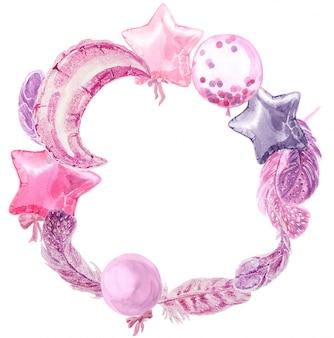 Cornice rotonda dell'acquerello del partito con palloncini e piume