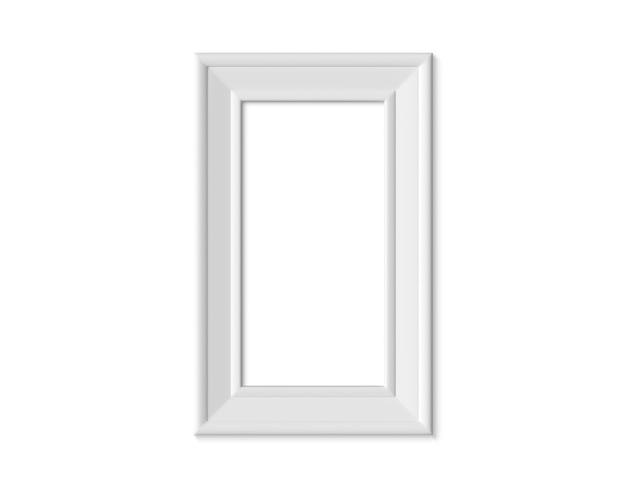 Cornice verticale verticale 1x2. carta bianca realisitc, in legno o plastica bianca per fotografie.