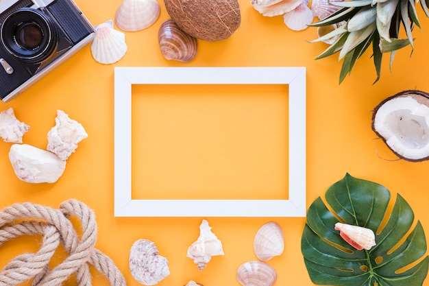 Cornice vuota con fotocamera, conchiglie e frutta