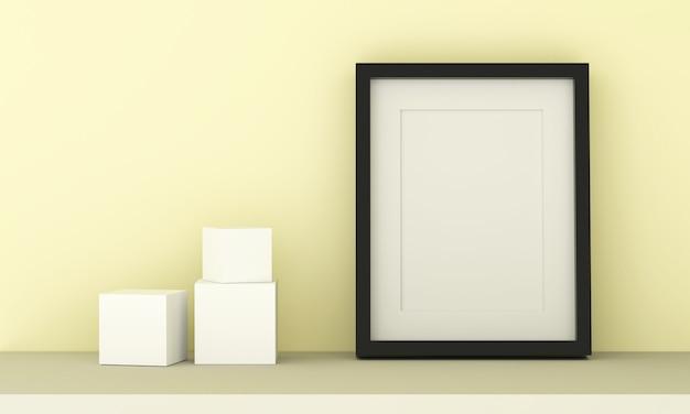 Cornice vuota per inserire testo o immagine all'interno e cubica su colore giallo pastello.