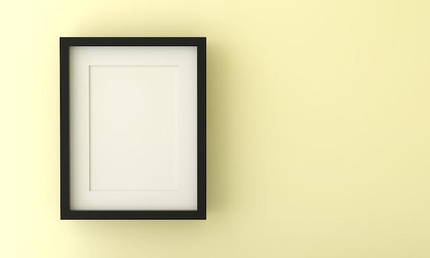 Cornice vuota per inserire testo o immagine all'interno su colore giallo pastello.