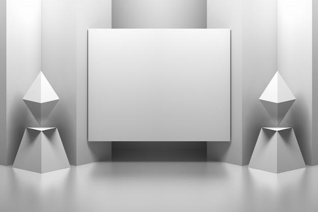Cornice vuota vuota del pannello di presentazione in un interno geometrico astratto
