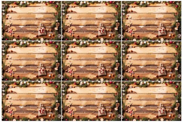 Cornici con numeri sulle buste calendario dell'avvento