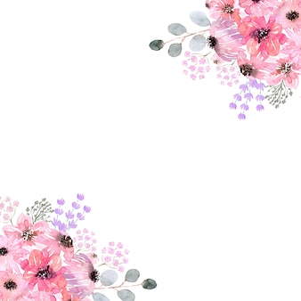 Cornici di fiori ad acquerello di varie forme. fiori, foglie e gemme.