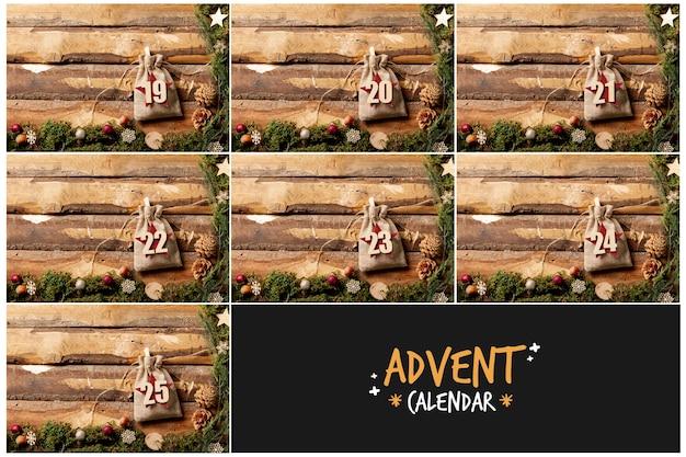 Cornici di legno con il concetto di numeri in sacchetto per il calendario dell'avvento