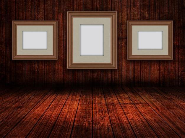 Cornici in bianco 3d in un interno della stanza del grunge