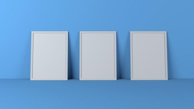 Cornici in bianco 3d sulla parete vuota
