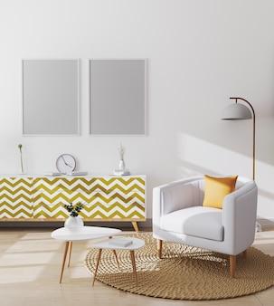 Cornici vuote in elegante salotto scandinavo interno dell'appartamento moderno con poltrona bianca e cuscino giallo, tavolino e armadi, soggiorno mockup, rendering 3d