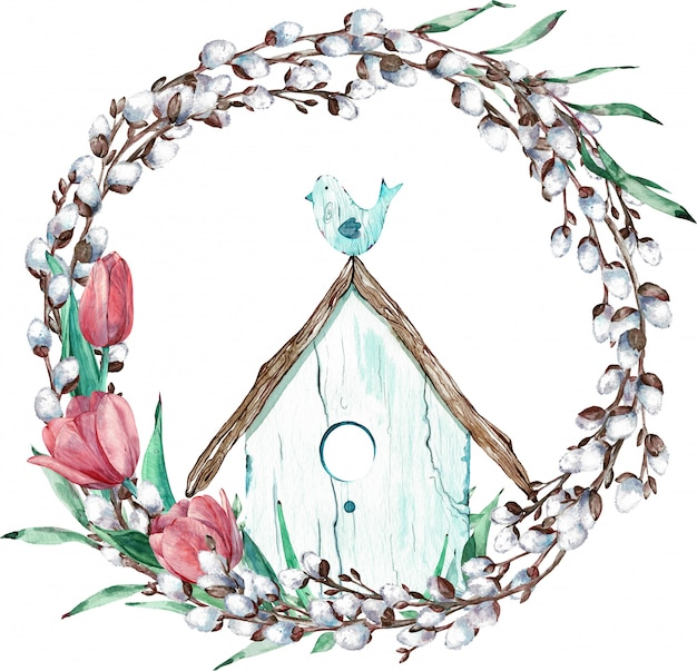 Corona del salice di pasqua con i tulipani e l'uccello che si siedono sulla sua casa. illustrazione ad acquerello