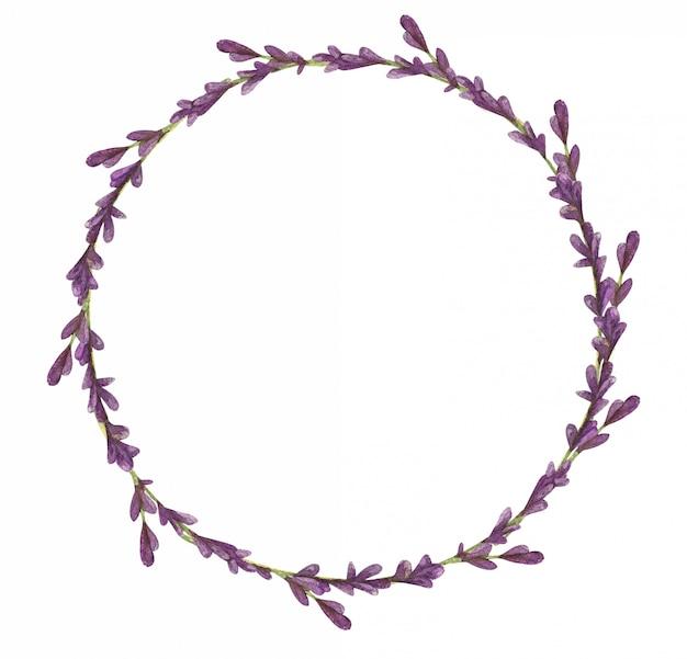 Corona dell'acquerello di fiori di lavanda