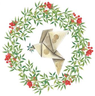 Corona dell'acquerello di foglie verdi e bacche rosse con un uccello di carta (origami)