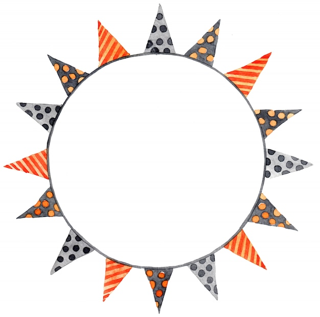 Corona dell'acquerello per halloween. ghirlanda colorata, bandiere