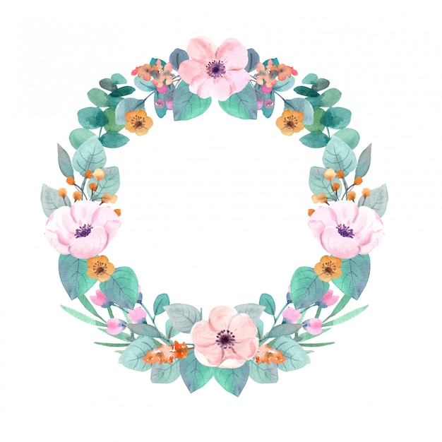 Corona di fiori ad acquerello