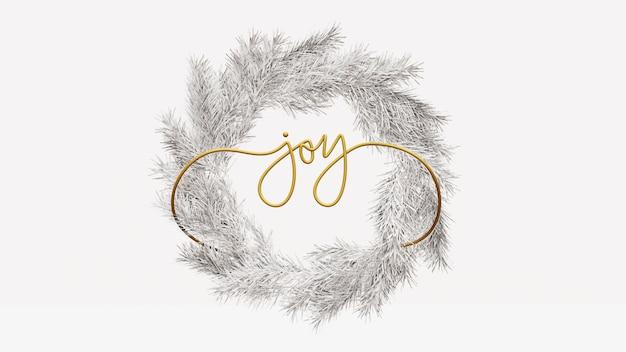 Corona di natale con gioia lettering