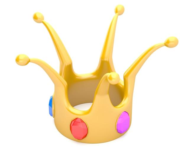 Corona dorata isolata su fondo bianco