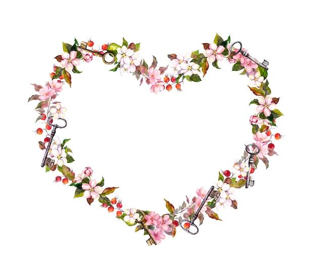 Corona floreale - a forma di cuore. fiori rosa, cuori, chiavi. acquerello per san valentino, matrimonio