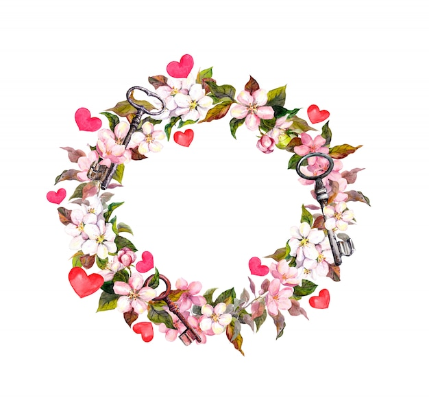 Corona floreale con fiori rosa, piume, cuori, chiavi. struttura del cerchio dell'acquerello per san valentino, matrimonio