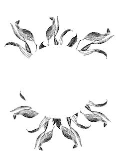 Corona floreale in bianco e nero con banner per il testo su uno sfondo bianco
