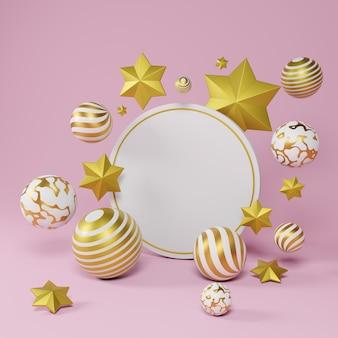 Corona rotonda bianca con ornamenti di natale e capodanno. palla fantasia oro