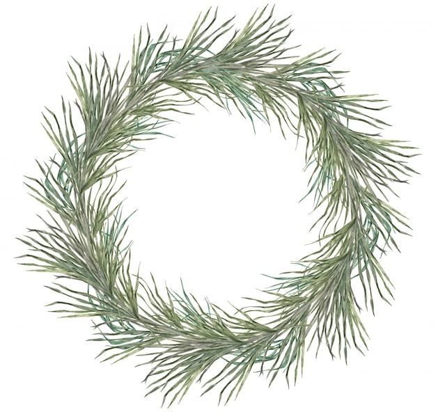 Corona tropicale delle foglie di palma isolata su fondo bianco per l'invito di festa e di nozze. struttura rotonda della pianta per gli inviti di nozze ed eventi isolati