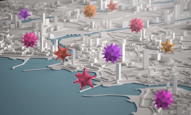 Corona virus spreading across city concept. costruzioni miniatura della città di vista aerea della rappresentazione 3d